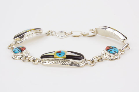 Zuni Inlay Sunface Link Bracelet by Raylan & Patty Edaakie - Turquoise Village - 1