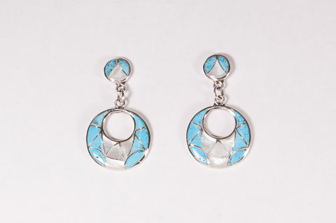 Zuni Turquoise and Mother of Pearl Inlay Drop Earrings by Edison & Laurenda Bobelu - Turquoise Village