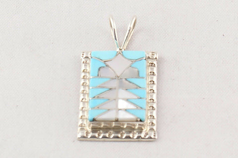 Zuni Turquoise and Mother of Pearl Inlay Pendant by Diane Quam - Turquoise Village - 1