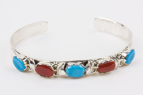 Zuni Turquoise and Red Coral Bracelet by Amelia Calavaza - Turquoise Village - 1