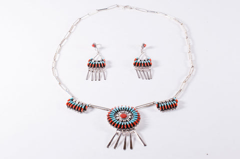Zuni Turquoise and Red Coral Needlepoint Necklace and Earring Set by Edmund Cooeyate - Turquoise Village