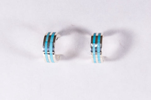 Zuni Turquoise and Sterling Silver Hoop Earrings by Devin Seowtewa - Turquoise Village