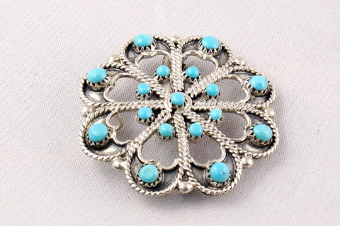 Zuni Turquoise and Sterling Silver Pin and Pendant by Murry & Arlene Tsattie - Turquoise Village - 1