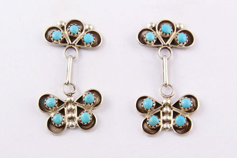 Zuni Turquoise Butterfly Drop Earrings by Gloria Lonasee - Turquoise Village