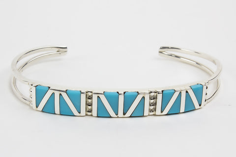 Zuni Channel Inlay Turquoise Cuff Bracelet by Wilbert Suetza - Turquoise Village - 1
