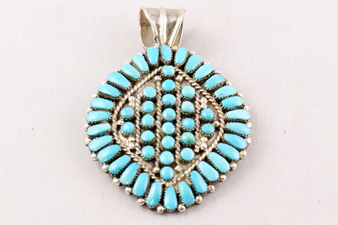 Zuni Turquoise Clusterwork and Snake Eye Pendant by Jennie Eustace - Turquoise Village - 1