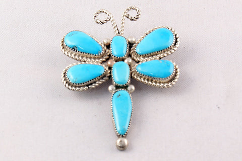 Zuni Turquoise Clusterwork Dragonfly Pin and Pendant by Diane Lonjose - Turquoise Village - 1