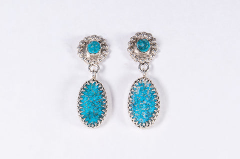 Zuni Turquoise Drop Earrings by Griffin & Vangie Tsabetsaye - Turquoise Village