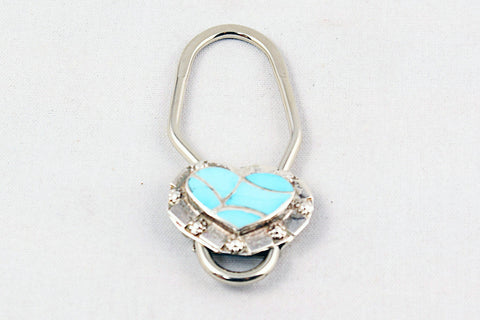 Zuni Turquoise Inlay Heart Key Ring by Carmichael Haloo - Turquoise Village