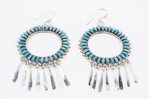 Zuni Needlepoint  Turquoise Drop Earrings by Milburn Dishta - Turquoise Village - 1