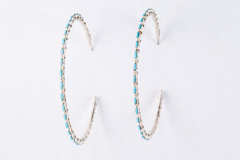 Zuni Turquoise Needlepoint Hoop Earrings by Alvin and Aurdia Hughte - Turquoise Village