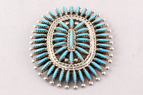 Zuni Turquoise Needlepoint Pin and Pendant by Gerald Etsate - Turquoise Village - 1