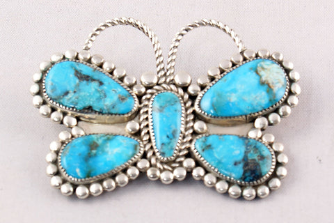 Zuni Turquoise Nugget Butterfly Pin and Pendant by Diane Lonjose - Turquoise Village - 1
