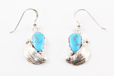 Zuni Turquoise Nugget Drop Earrings by Lydia Simplicio - Turquoise Village
