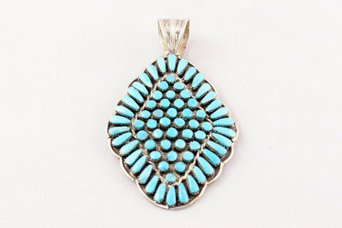 Zuni Turquoise Petit Point and Snake Eye Pendant by Jennie Eustace - Turquoise Village - 1