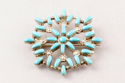 Zuni Turquoise Petit Point Snowflake Pin and Pendant by Alrick Waikeniwa - Turquoise Village - 1