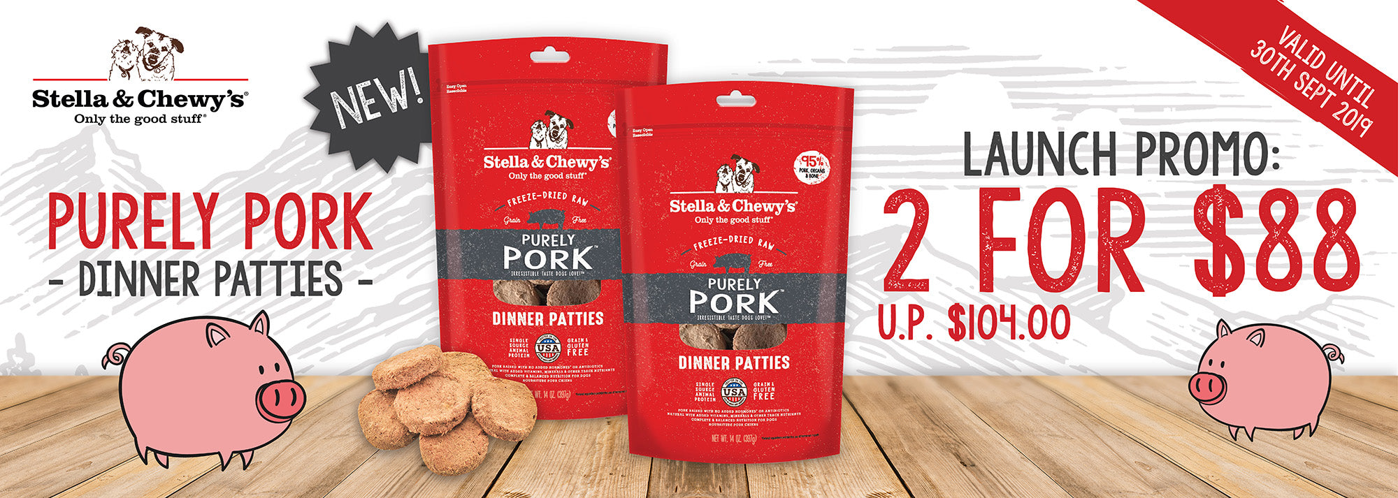 stella & chewy's purely pork dinner patties freeze-dried dog food 14oz promotion banner