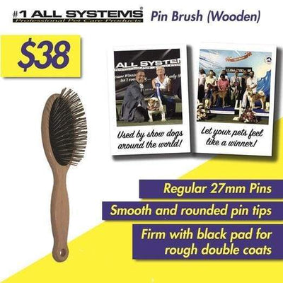 #1 All Systems #1 All Systems 27mm Pin Wooden Pet Brush (Black Pad) Grooming & Hygiene