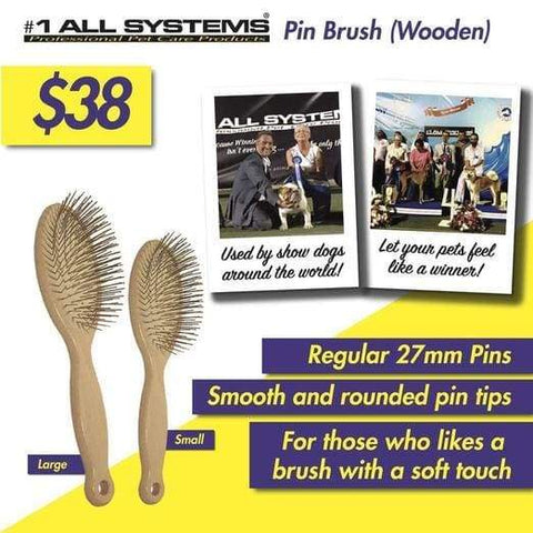 #1 All Systems #1 All Systems 35mm Pin Wooden Pet Brush (White Pad) Grooming & Hygiene