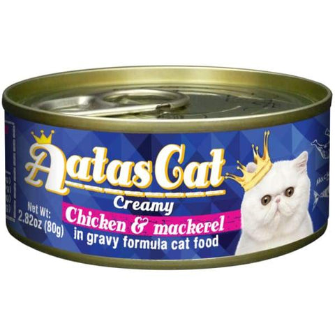 Aatas Cat Aatas Cat Creamy Chicken & Mackerel In Gravy Canned Cat Food 80g Cat Food & Treats