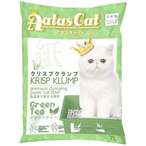 Aatas Cat Aatas Cat Krisp Klump Paper Cat Litter Green Tea 7L Cat Litter & Accessories