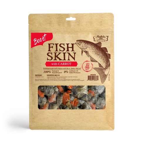 Absolute Bites [$11 OFF] Absolute Bites Fish Skin With Carrot Air-Dried Dog Treats 450g Dog Food & Treats