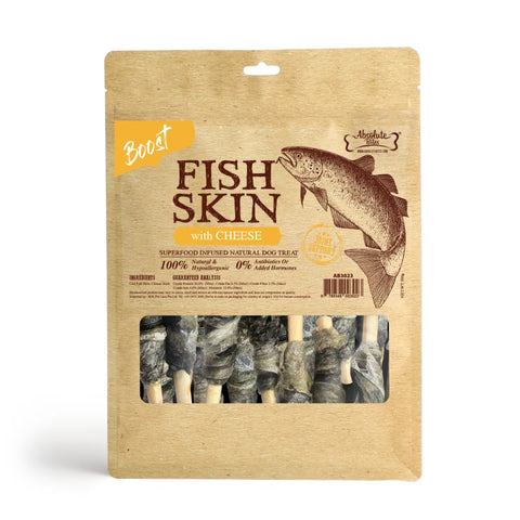 Absolute Bites [$11 OFF] Absolute Bites Fish Skin With Cheese Air-Dried Dog Treats 450g Dog Food & Treats