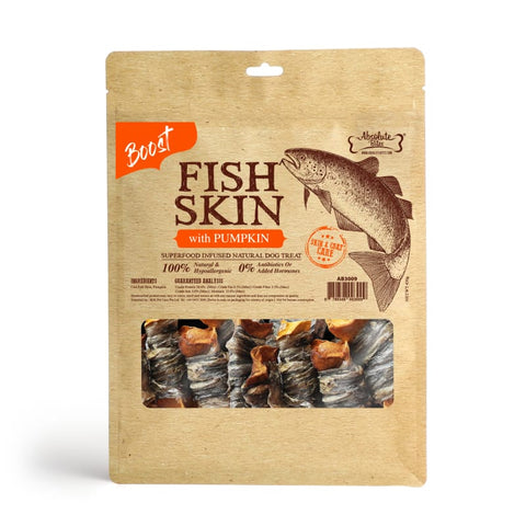 Absolute Bites [$11 OFF] Absolute Bites Fish Skin With Pumpkin Air-Dried Dog Treats 450g Dog Food & Treats