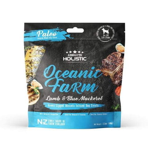 Absolute Holistic Absolute Holistic Air Dried Blue Mackerel & Lamb Dog Treats 100g Dog Food & Treats
