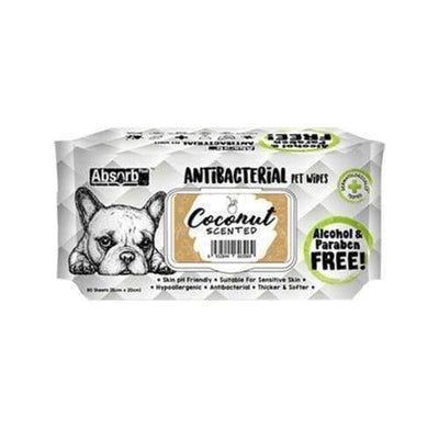 Absorb Plus [12 for $39.90 ONLY] Absorb Plus AntiBacterial Pet Wipes 80pcs (Coconut) Grooming & Hygiene