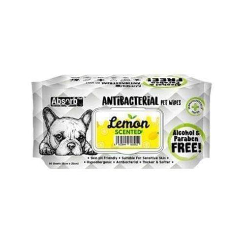 Absorb Plus [12 for $39.90 ONLY] Absorb Plus AntiBacterial Pet Wipes 80pcs (Lemon) Grooming & Hygiene