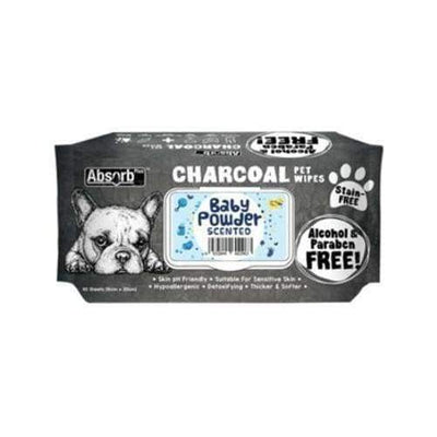 Absorb Absorb Plus Charcoal Pet Wipes 80pcs (Baby Powder) [PROMO] 3 FOR $15 Grooming & Hygiene