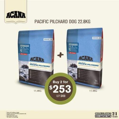 ACANA [50% OFF 2nd 11.4KG] ACANA Singles Pacific Pilchard Dry Dog Food 22.8kg Dog Food & Treats