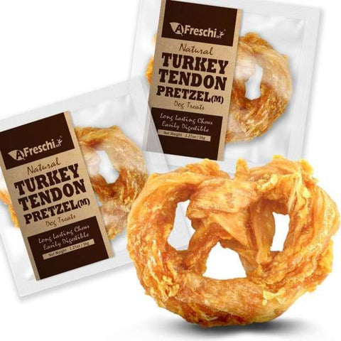 Afreschi Afreschi Natural Turkey Tendon Pretzel 2 Sizes Dog Food & Treats