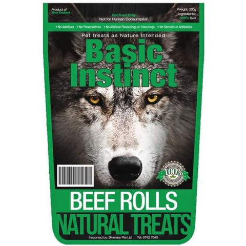 Basic Instinct Basic Instinct Beef Rolls Natural Dog Treat 200g Dog Food & Treats