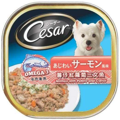 Cesar Cesar Salmon with Potato & Carrot Pate Tray Dog Food 100g Dog Food & Treats