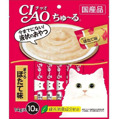 Ciao Ciao ChuRu White Meat Tuna & Scallop Liquid Cat Treat 140g (14gx10) Cat Food & Treats