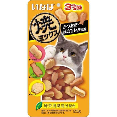 Ciao Ciao Soft Bits Mix Tuna & Chicken Fillet Dried Bonito Scallop & Squid Flavor Cat Treats 25g Cat Food & Treats