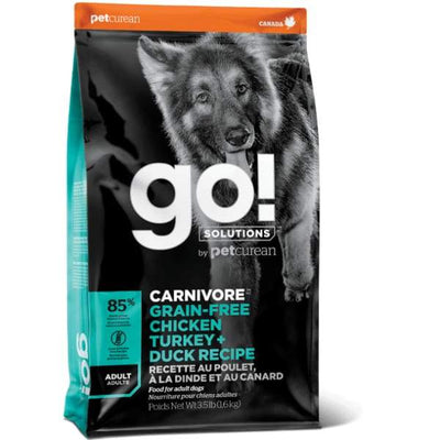 Go! GO! Solutions Carnivore Grain Free Chicken Turkey & Duck Adult Dry Dog Food Dog Food & Treats