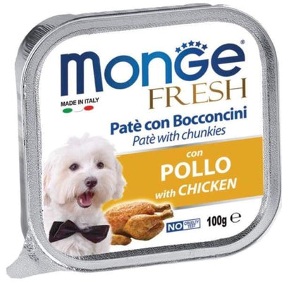 Monge Monge Fresh Pate & Chunkies with Chicken Tray Dog Food 100g Dog Food & Treats