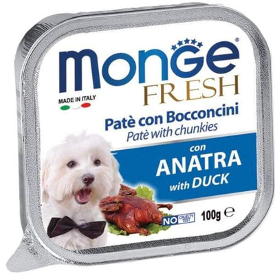 Monge Monge Fresh Pate & Chunkies with Duck Tray Dog Food 100g Dog Food & Treats