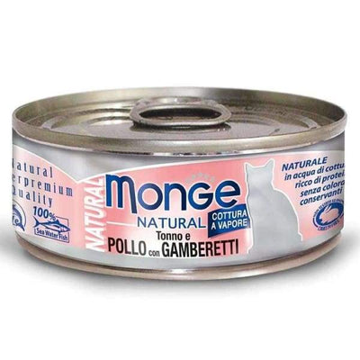 Monge Monge Natural Tuna & Chicken With Shrimps Canned Cat Food 80g Cat Food & Treats