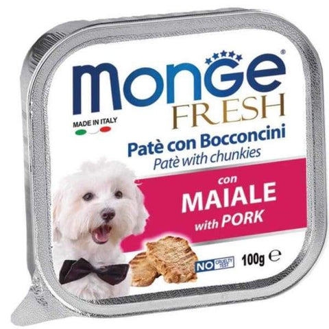Monge Monge Fresh Pate & Chunkies with Pork Tray Dog Food 100g Dog Food & Treats