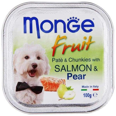 Monge Monge Fruit Salmon & Pear Pate with Chunkies Tray Dog Food 100g Dog Food & Treats