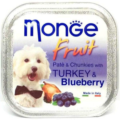 Monge Monge Fruit Turkey & Blueberry Pate with Chunkies Tray Dog Food 100g Dog Food & Treats