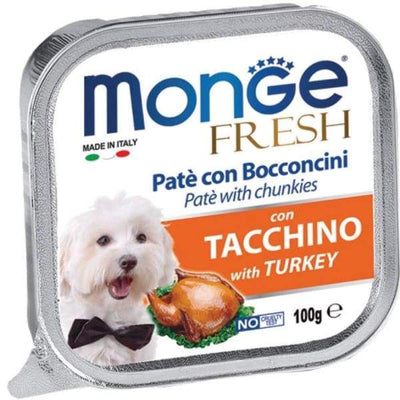 Monge Monge Fresh Pate & Chunkies with Turkey Tray Dog Food 100g Dog Food & Treats