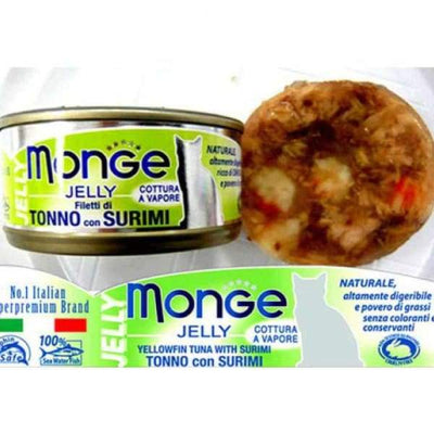 Monge Monge Yellowfin Tuna with Surimi in Jelly Canned Cat Food 80g Cat Food & Treats