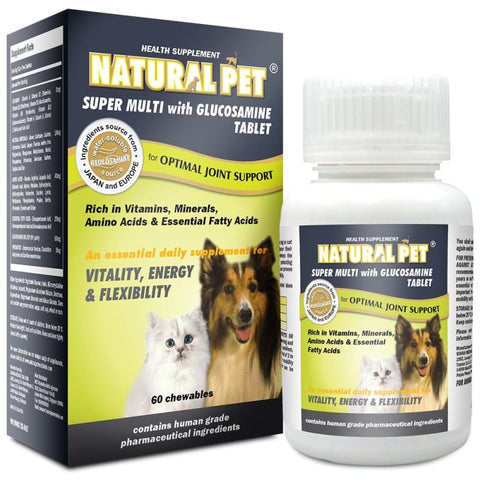 Natural Pet [15% OFF] Natural Pet Super Multi Supplement with Glucosamine in Powder or Tablet Dog Healthcare