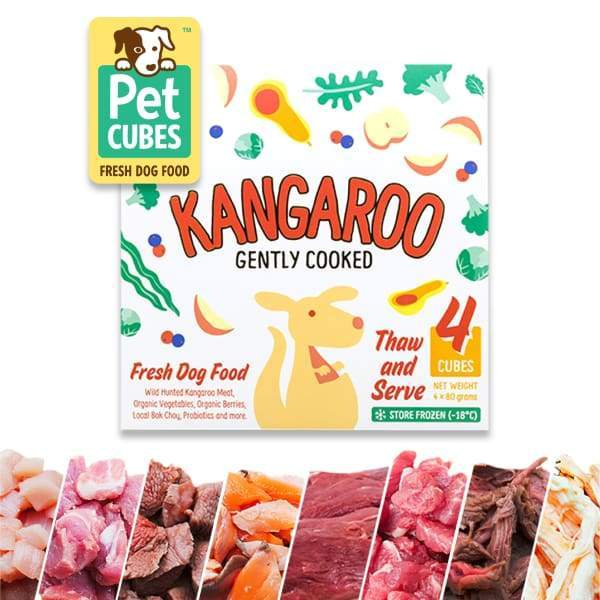 Pet Cubes [5% OFF + FREE BROTH*] Pet Cubes Complete Gently Cooked Kangaroo Frozen Dog Food 2.25kg Dog Food & Treats