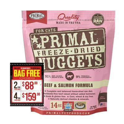 Primal [4 For $159.90] Primal Freeze Dried Beef & Salmon Raw Cat Food Cat Food & Treats